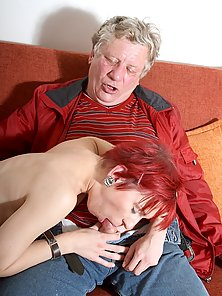 Red Headed Babe Gives Head and Pounded Hard By a Hunky Old Guy