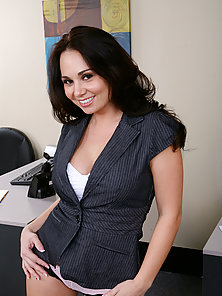 hot brunette takes it hard from her boss