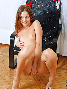 Sexy leggy pinup licking her smooth legs while fingering her tight sha