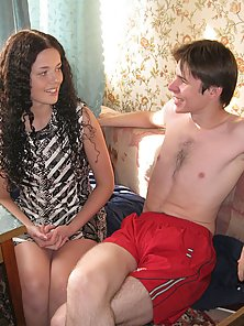 Sex appeal curly brunette girl has sex with pretty stranger