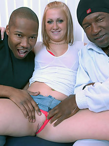 Horny Russian Slut Gives Head and Gets Railed by Black Blokes at Once