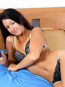 Horny fresh amateur Nyusha gets her first time hardcore sex in bed with a stud