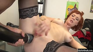 Redhead cutie in stockings her asshole stuffed with huge toys before anal fuck