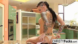 Tattooed Babe Christy Mack Nailed by Huge Dildo on Camera