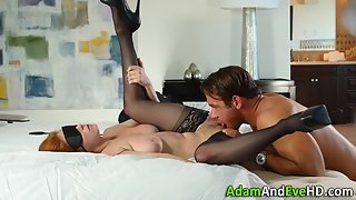 Redhead housewife in stockings pussy licked and fucked