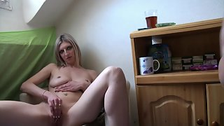 Blonde Takes Big Cock of Her Guy in Tight Pussy Indoors