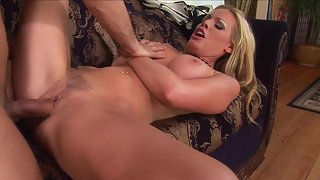 Blonde Pounded by Her Dashing Guy then Jerking Big Cock