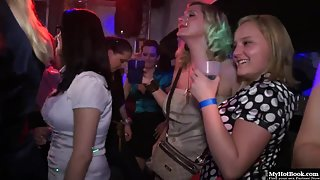 Tasty chicks sucking and fucking at erotic party