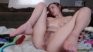 Redhead Slender Babe Got Humped on Fat Dildo in Living Room