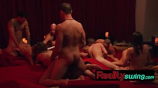 Swingers get fucked hard in the orgy room