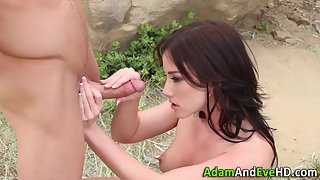 Brunette babe jerks hard dick and pussy pounded good