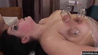 Big boobs brunette gets restrained before fisted by her maledom