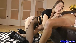 Nasty amateur in stockings shaved pussy drilled for cumshot