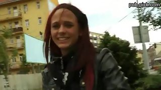 Redhead euro bitch gets her both holes fucked somewhere in public