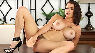 Big Boobs Whore Peta Jensen Puts Huge Dildo in Her Hairy Cunt