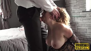 Silky Haired MILF Goes Down then Suck Fat Stud of Partner