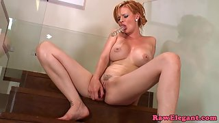 Redhead Skinny Babe Gets Trim Muff Toying after Blowjob