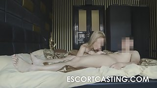 Blonde Russian Escort Filmed While Giving Service to Client