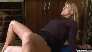 MILF blonde with big bum gets pounded by young lover