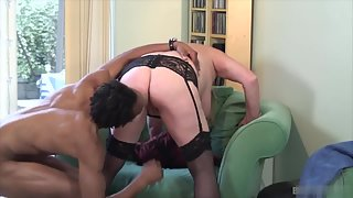 Chubby mature lady enjoys oral with black guy before getting banged