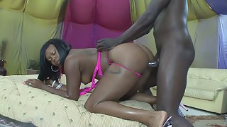 Ebony Whore Takes Big Cock of Her Black Guy in Shaved Twats