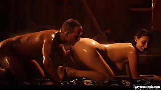 Oiled up babe gets orally pleased and banged hard