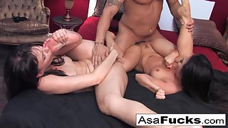 Big Boobs Babes Asa Akira and Dana Nailed One after Another from Their Dude