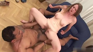 Young busty brunette gets her hairy muff screwed by BBC