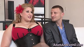 Stocking Wore Blonde BBW Gets Fingered and Rammed with Huge Stimulation