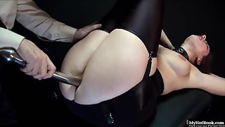 Big ass brunette toyed and harshly fucked in submissive sex action