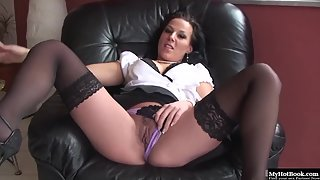 Lingerie wearing wife fingers herself before squirting around the floor