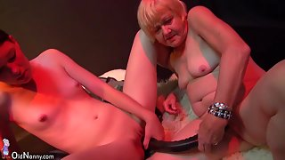Two girls masturbate with grannies