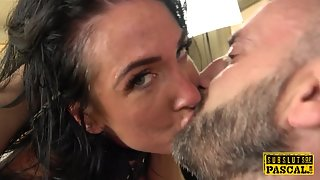 Brunette Mouth Gagging Babe Enjoys Riding Gigantic Cock