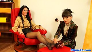Finger Drilling Brunette Lesbian Babes Cum Covered by Glory Hole Cock